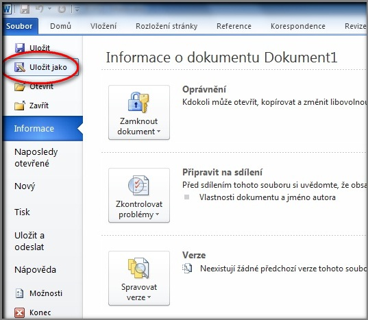 uložit dokument z Wordu do PDF