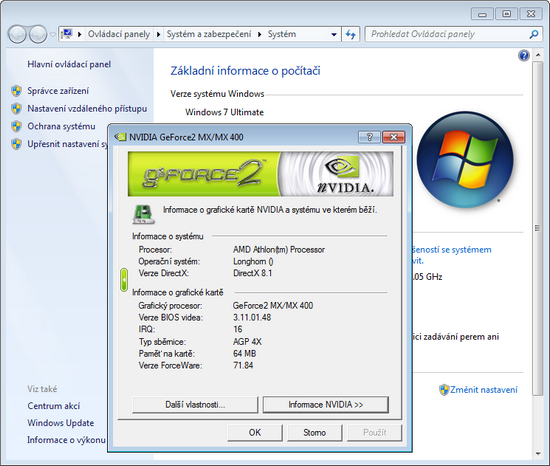 GeForce2 MX400 and Windows 7
